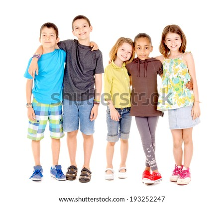 little boys isolated in white - stock photo