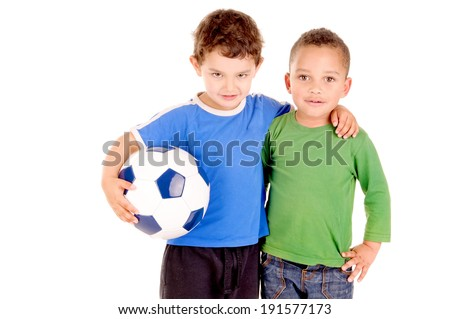 little boys with soccer ball isolated in white - stock photo