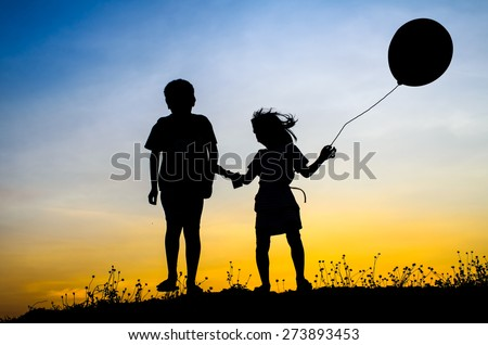 Little brother and sister and balloon silhouette - stock photo