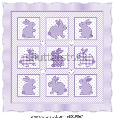 LITTLE BUNNIES QUILT, Old fashioned blanket quilt with baby bunnies in pastel lavender checks, polka dots & gingham with satin border. - stock photo