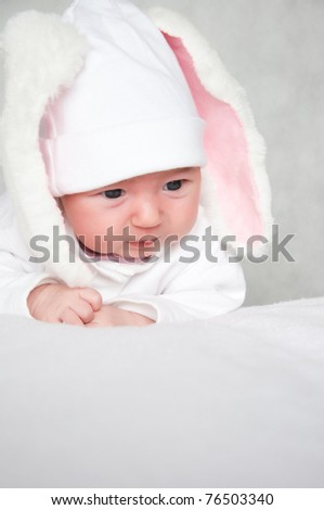 little bunny newborn baby - stock photo