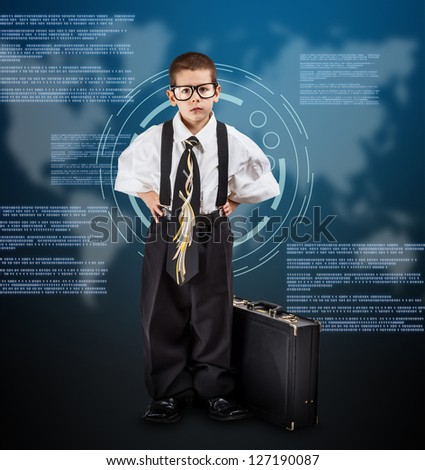 Little business boy on digital background - stock photo