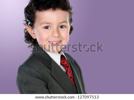 Little businessman isolated on a over purple background - stock photo