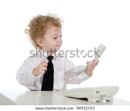 little businessman speaking on phone.  isolated on white background - stock photo