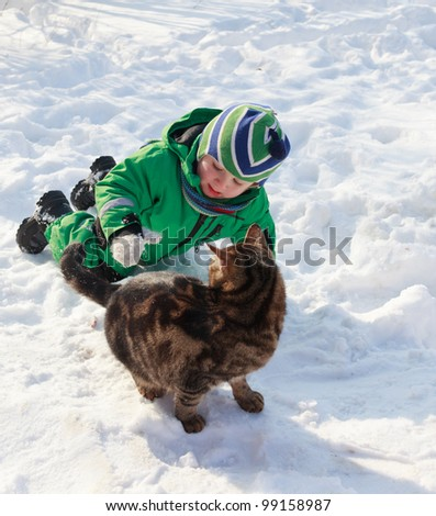 Little cat lover - stock photo