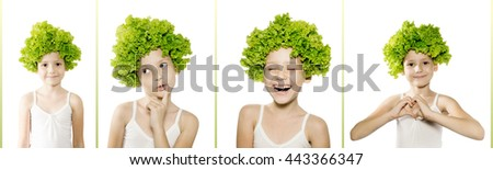 Little caucasian girl with green salad on her head shows different emotions. Healthy lifestyle, facial expressions, youth concept. Isolated on white - stock photo