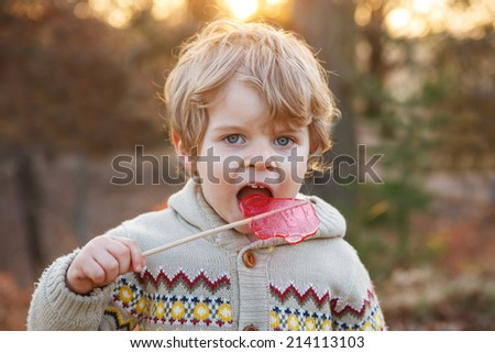 Little caucasian toddler boy of two years eating big candy , outdoors - stock photo