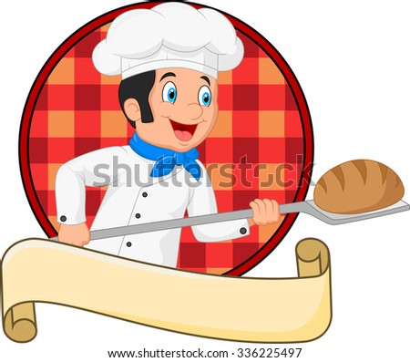 Little chef baker holding bakery peel tool with bread  - stock photo