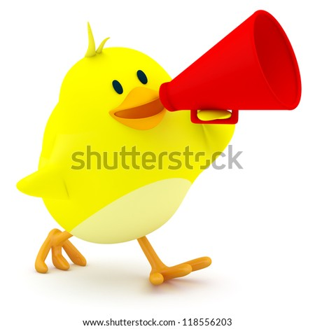 Little chick with a red megaphone - 3d render - stock photo