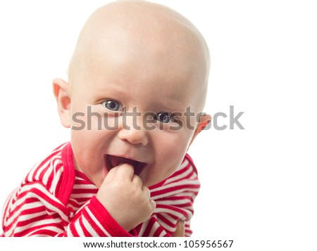 little child baby smiling closeup portrait isolated on white studio shot face positive happy - stock photo