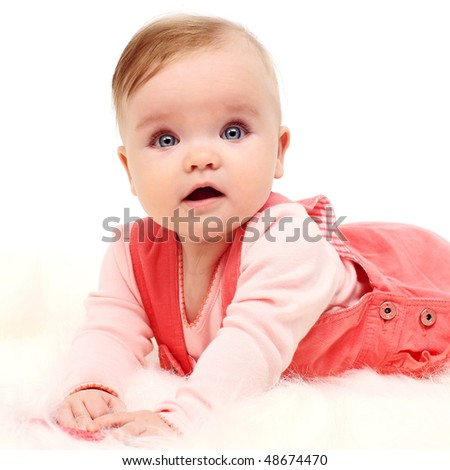 little child baby smiling sitting in funny clothes - stock photo