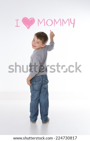little child declares his affection for mom - stock photo