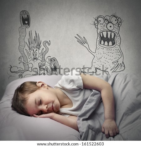 little child has nightmares - stock photo
