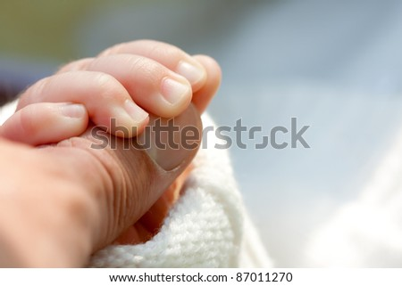 Little child holding father's hand. Close-up view - stock photo