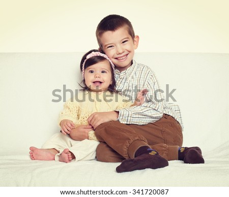 little child portrait brother and sister  - stock photo