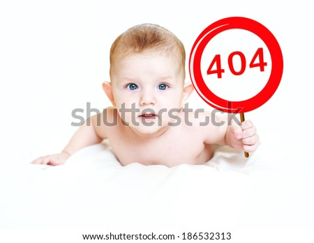 "Little child with a sign ""404"" in light background. The page not a found. - stock photo"