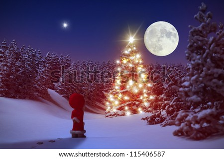 Little Christmas Gnome in front of an illuminated Christmas tree inside snowy forest 3D - stock photo