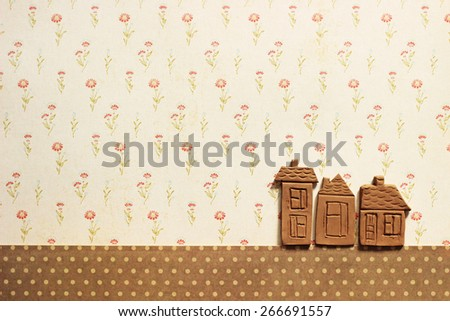 little clay houses, place for your text - stock photo