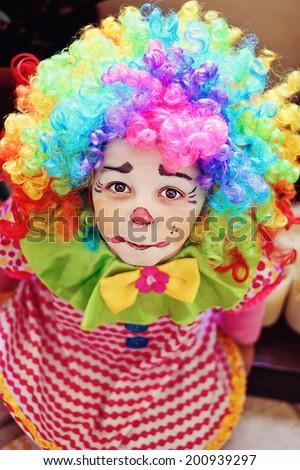 Little clown girl - stock photo