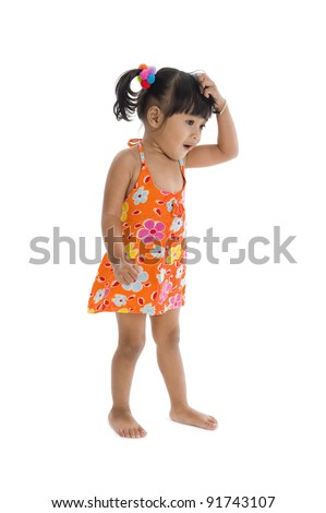 little confused girl scratching her head, isolated on white background - stock photo
