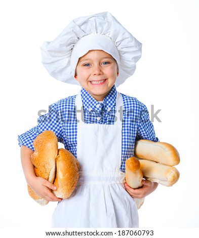 Little Cook Boy With Bread. Isolated on white background. - stock photo
