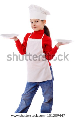 Little cooker standing with two empty dishes, isolated on white - stock photo
