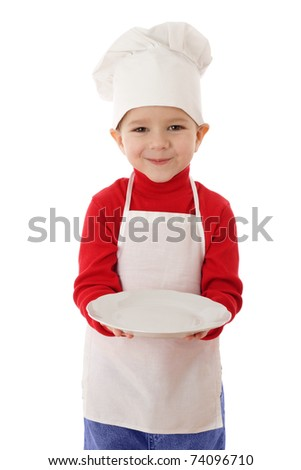 Little cooker with empty dish, isolated on white - stock photo