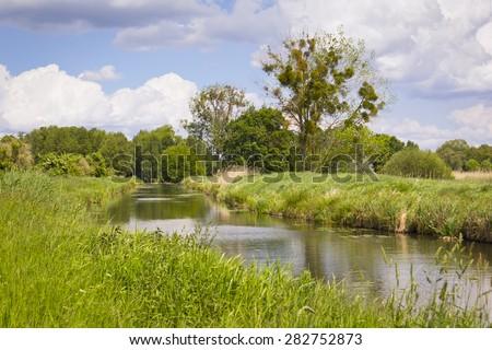 Little creek in Brandenburg, Pfefferfliess. Was seen near Bad Belzig, in Brandenburg, in the Nuthe-Nieplitz Nature Park. This landscape is a result of land amelioration. - stock photo