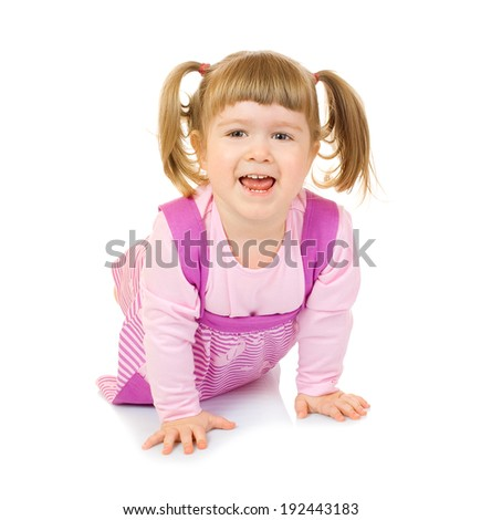 Little creeping funny girl isolated - stock photo