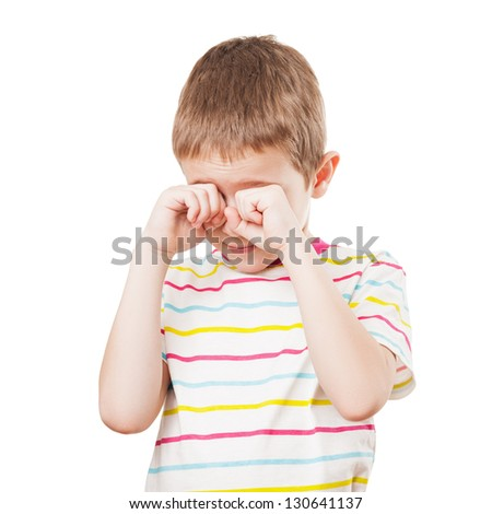 Little crying child hands hiding or covering face white isolated - stock photo