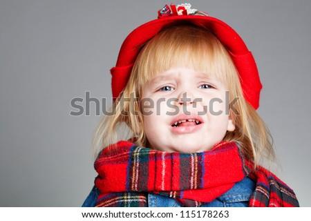 little crying girl portrait - stock photo