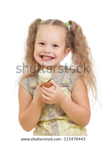 little curly girl eating ice cream in studio isolated - stock photo