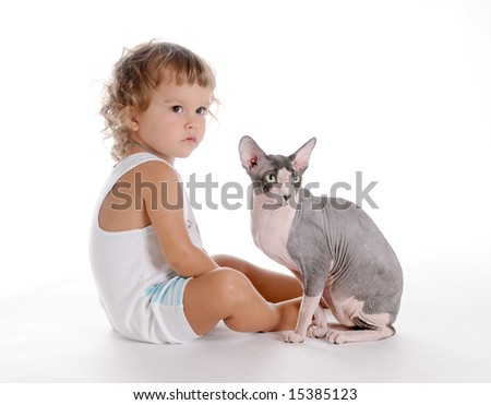 Little Curly-headed Boy and Cat - stock photo