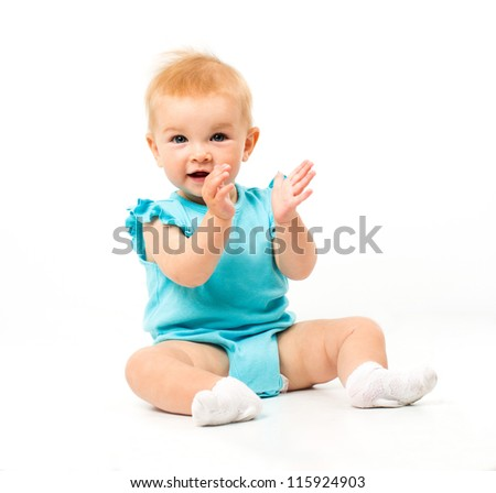 Little cute baby in blue dress isolated - stock photo