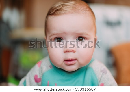 little cute baby toddler on carpet close up smiling adorable happy emotional playing at home - stock photo