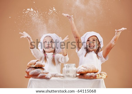 Little cute bakers studio shot - stock photo