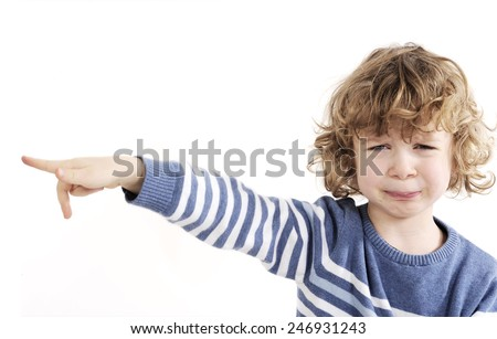 little cute boy crying - stock photo