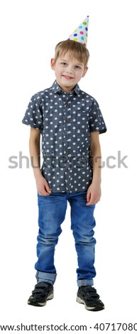 Little cute boy in birthday cap, isolated on white - stock photo