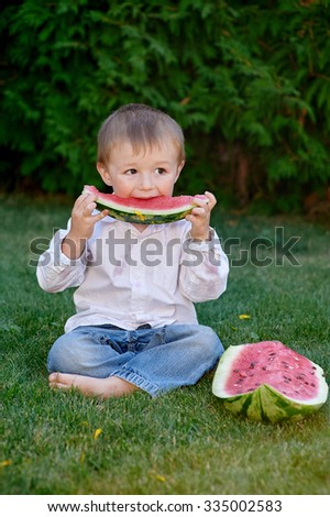little cute boy sitting on grass in park and eating a watermelon. - stock photo