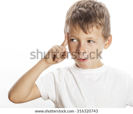 little cute boy thinking gesture isolated on white close up finger - stock photo