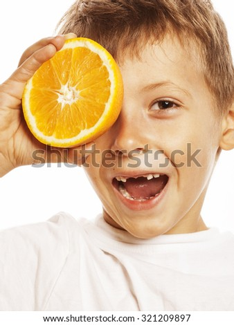little cute boy with orange fruit double isolated on white smiling without front teeth adorable kid - stock photo