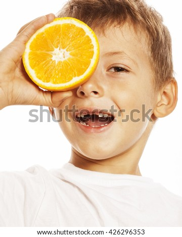 little cute boy with orange fruit double isolated on white smiling without front teeth adorable kid cheerful - stock photo