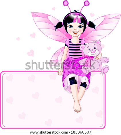 Little cute fairy sitting on place card.  Raster version - stock photo
