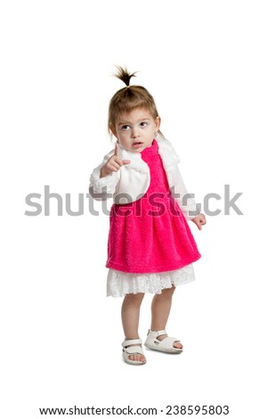 Little cute girl in a red dress shows the forefinger forward the camera isolated on a white background - stock photo
