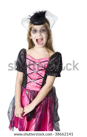 little cute girl in carnival fancy dress on the eve of  Halloween - stock photo