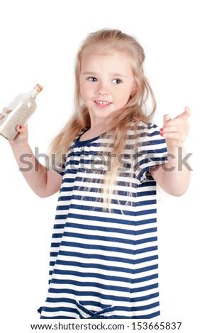 Little cute girl in studio - stock photo