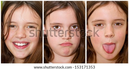 Little, cute girl making faces - stock photo