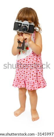 Little cute girl making making photo isolated on white background - stock photo