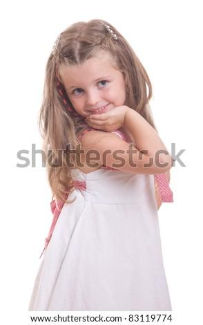 Little cute girl posing on white background - stock photo