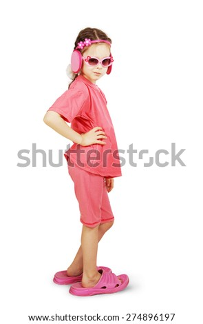 Little cute girl wearing pink clothes and big beach slippers - stock photo